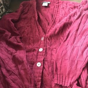 Sweaters - Women's maroon button up sweater